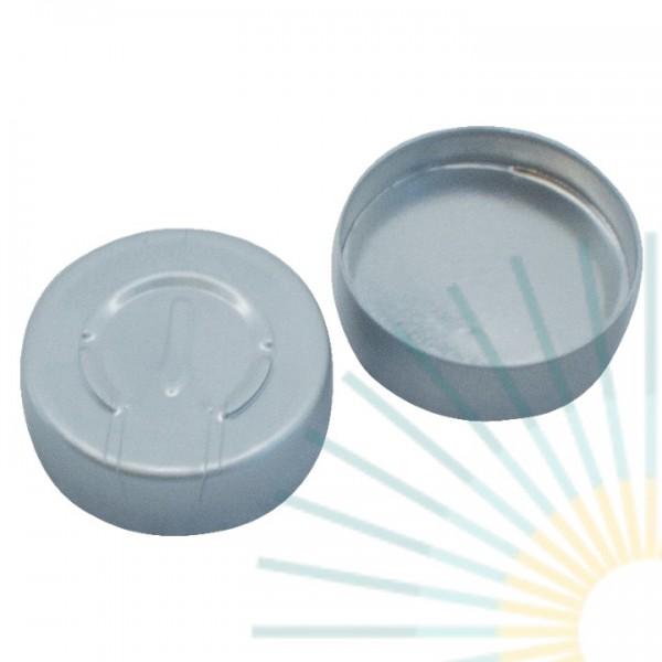 20mm Bördelk. (Alu), walzblank, Ganzabriss; Silicon weiß/Alufolie silber, 3,0mm