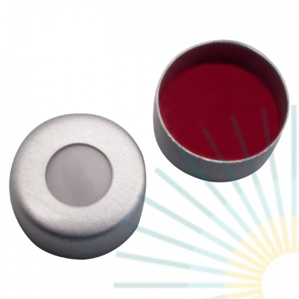 8mm Crimp Cap (Alu), colourless, hole; Silicone white/PTFE red, 1.3mm