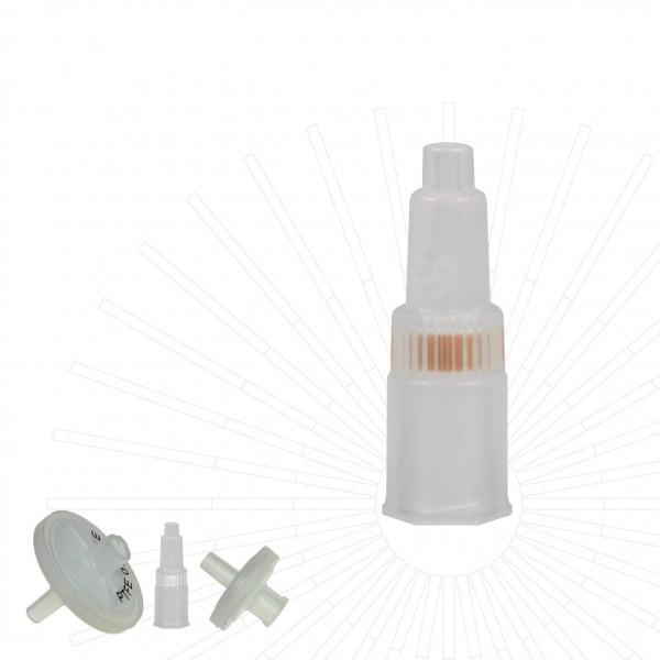 Spritzenfilter / Spritzenvorsatzfilter, Cellulose Acetat, Ø 4 mm, Pore 0.2 µm, nicht steril, 100/Pk