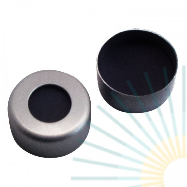 8mm Crimp Cap (Alu), colourless, hole; Viton 1A black, 1.5mm