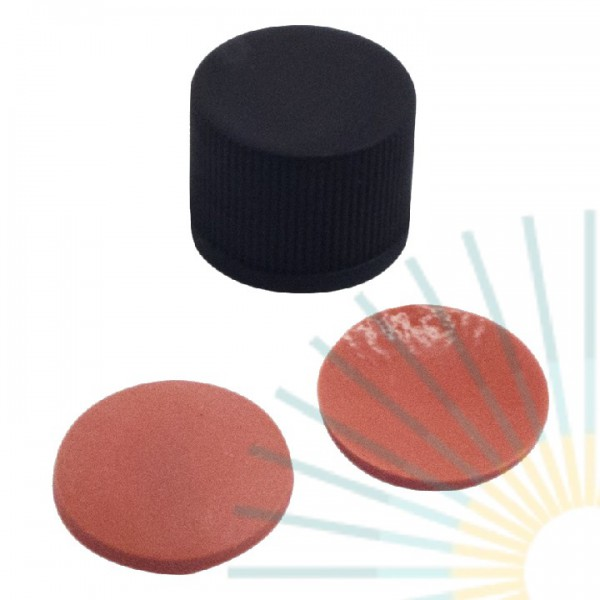 15mm PP-Thread Cap, black, slitted, ND15; Nat. Rubber red-orange/TEF transp., 1.3mm