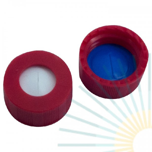 9mm PP Short Screw Cap, red, hole; Silicone white/PTFE blue, 1.0mm, slitted