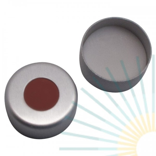 11mm Crimp Cap (Alu), colourless, hole; Red Rubber/PTFE beige, 1.0mm