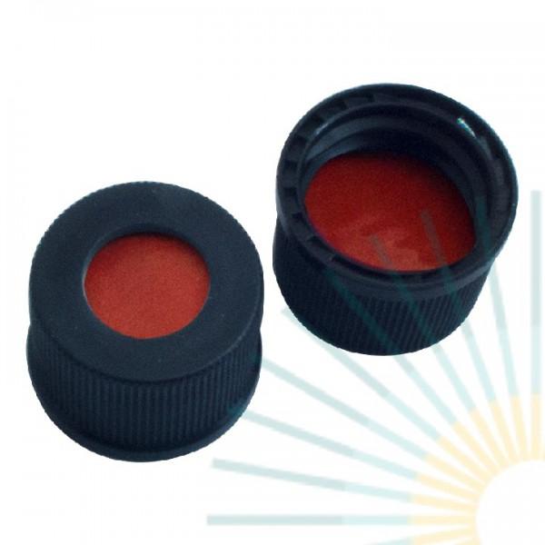 13mm PP Schraubkappe, schwarz, Loch; Naturkautschuk rot-orange/TEF transp., 1,3mm