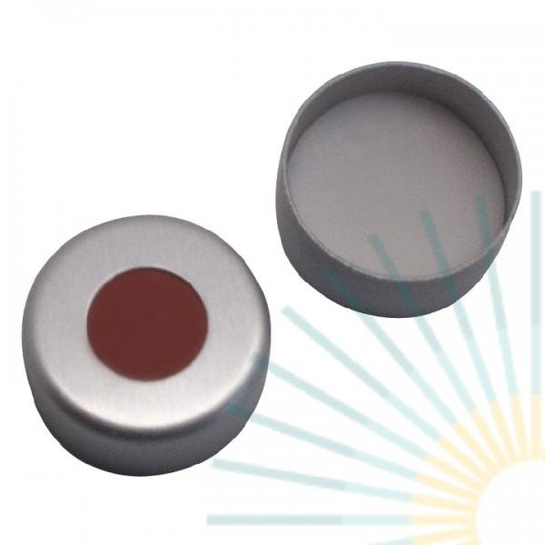 8mm Crimp Cap (Alu), colourless, hole; RedRubber/PTFE beige, 1.0mm