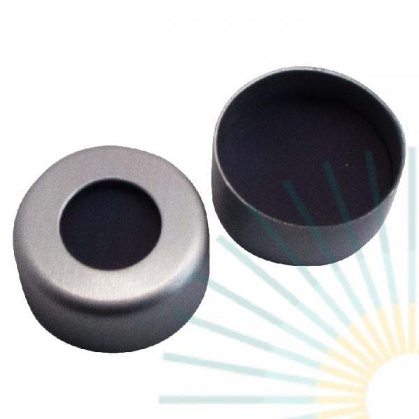 11mm Crimp Cap (Alu), colourless, hole, Viton 1A black, 1.5mm
