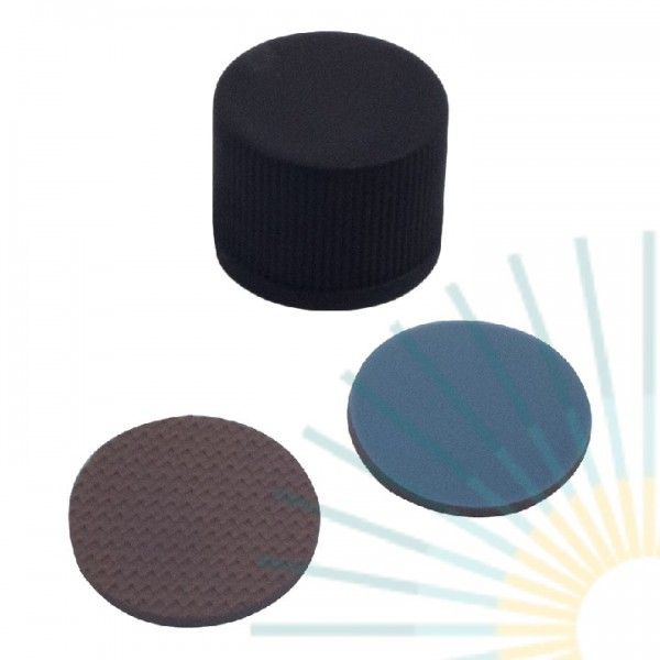 15mm PP-Schraubkappe, schwarz, geschl., ND15; Butyl rot/PTFE grau, 1,4mm