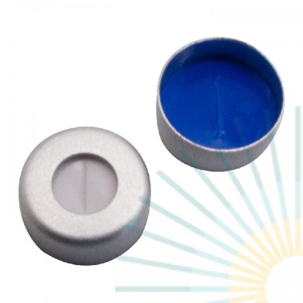 11mm Crimp Cap (Alu), colourless, hole; Silicone white/PTFE blue, 1.5mm, slitted