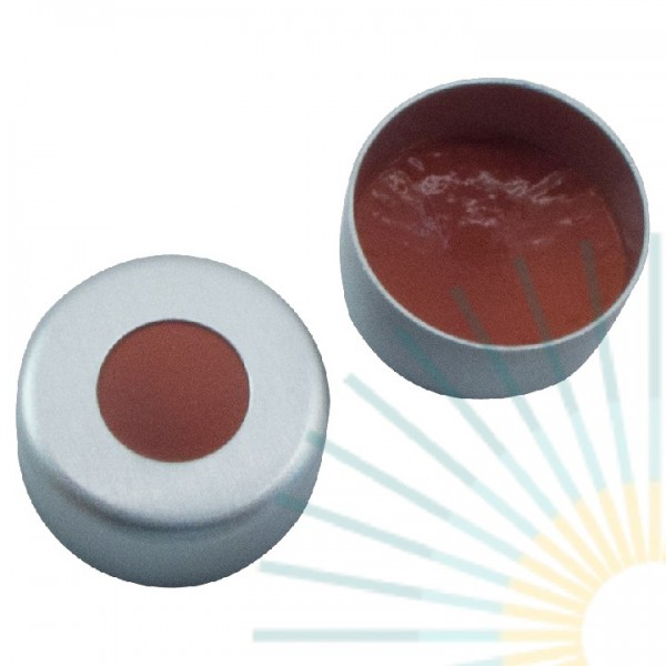 11mm Bördelk. (Alu), farblos, Loch; Naturkautschuk rot-orange/TEF transp, 1,0mm