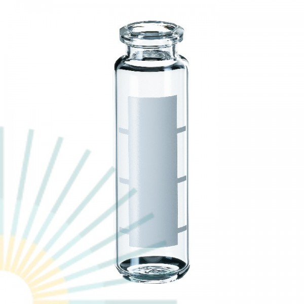 20ml HS-Vial, clear, with label & filling lines, rounded bottom