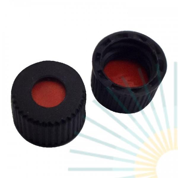 10mm PP Screw Cap, black, hole, ND10; Nat. Rubber red-orange/TEF transp., 1.3mm