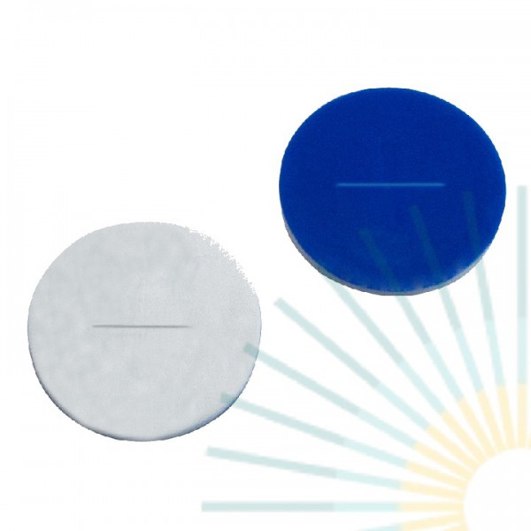 9mm Septa, Silicone white/PTFE blue, 1.0mm, slitted