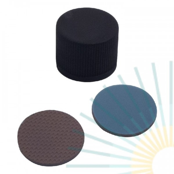 13mm PP Screw Cap, black, slitted; butyl creme/PTFE grey, 1.3mm