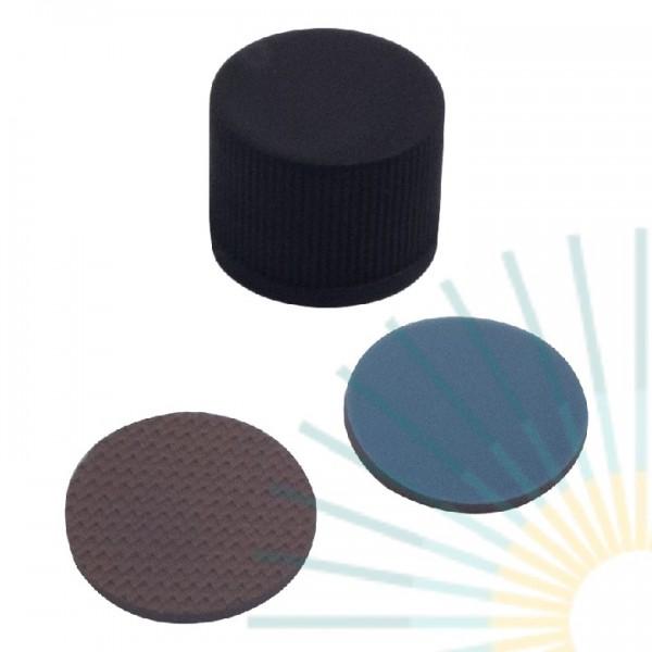 13mm PP Schraubkappe, schwarz, geschl.; Butyl creme/PTFE grau, 1,3mm