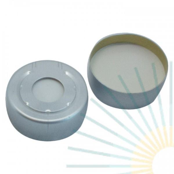 20mm Alu HS Bördelk., farblos, Loch; Silicon weiß/PTFE beige, 3,2mm (HT Qualität)