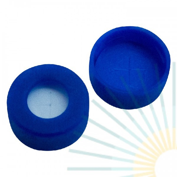 11mm PE Snap Ring Cap, blue, hole; Silicone white/PTFE blue, 1.0mm, slitted