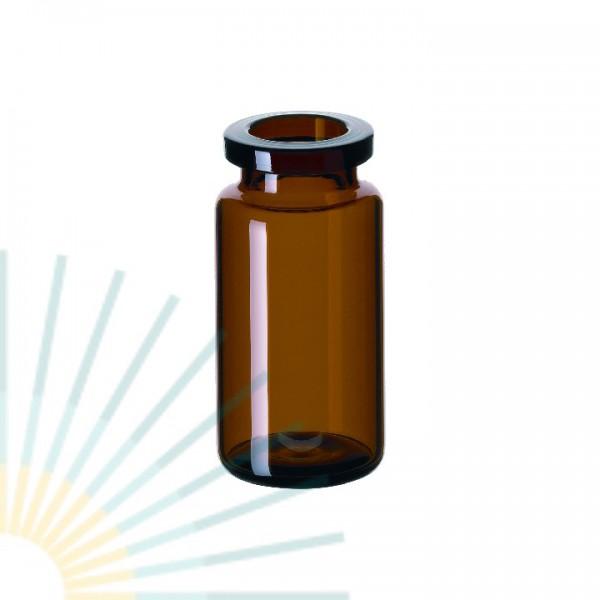 10ml HS-Flasche, 46 x 22,5mm, Braunglas, Rollrand, gerundeter Boden
