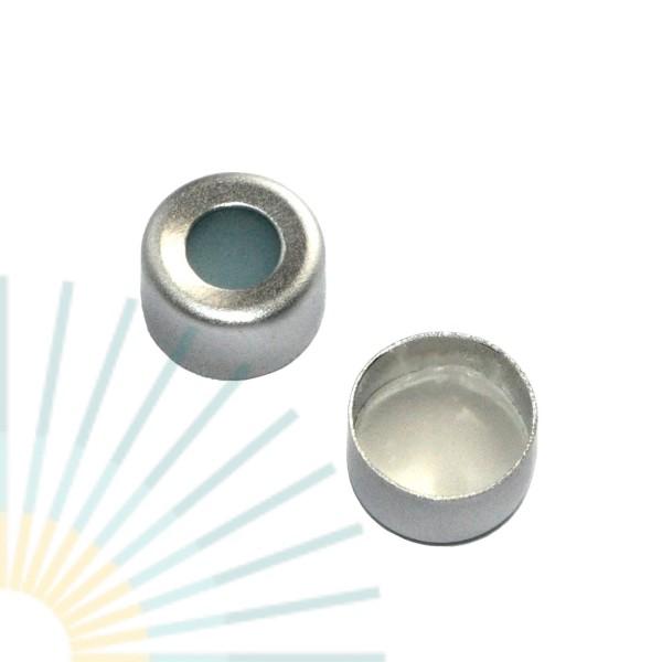8mm Bördelk. (Alu), farblos, Loch; Silicon blau transp/PTFE weiß, 1,3mm