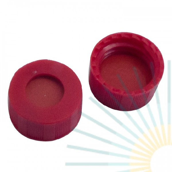 9mm PP Short Screw Cap, red, hole; Nat. Rubber red-orange/TEF transp., 1.0mm