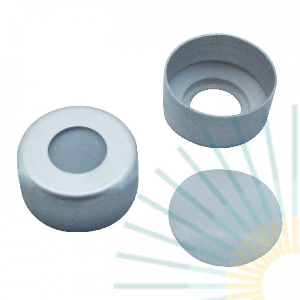 11mm Alu Crimp Cap, colourless, hole, PTFE liner, 0.25mm (with TPF O-Ring)