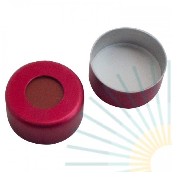 11mm Crimp Cap (Alu), red, hole; Red Rubber/PTFE beige, 1.0mm