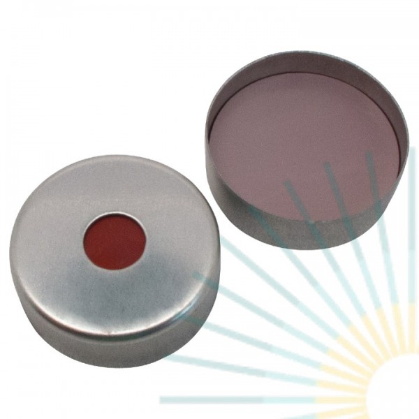 20mm Magnet. Crimp Cap, silver, 6mm hole; HTS, Sillicon dark red/PTFE, 3.0mm