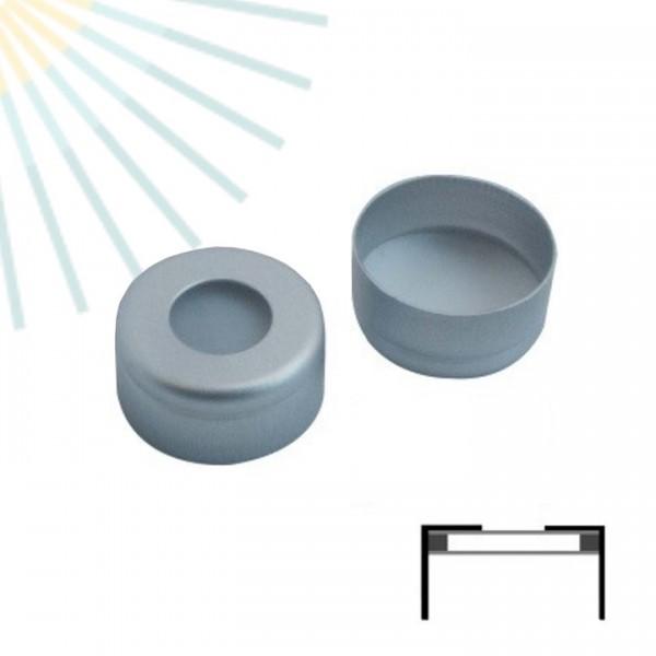 11mm ZeroSept AIR Verschluss: Aluminium Bördelkappe farblos lackiert, 5.5mm Loch, mit Rollierung