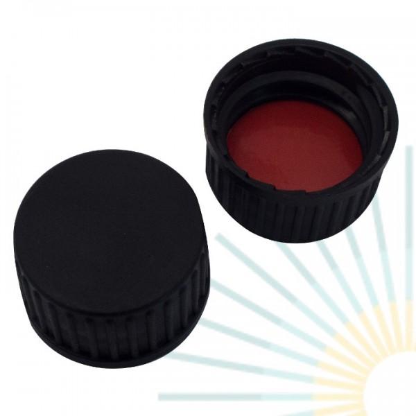 18mm PP Schraubkappe, schwarz, geschl.; Naturkautschuk rot-orange/ TEF transp., 1,3mm