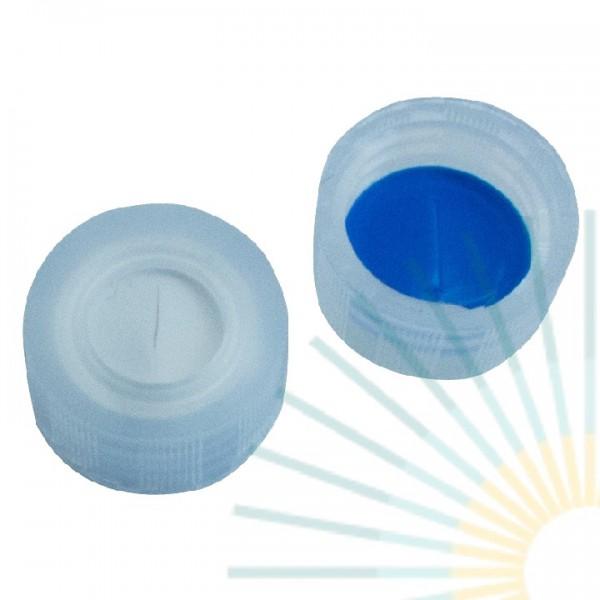 9mm PP Kurz-GW-Kappe, transp., Loch; Silicon weiß/PTFE blau, 1,0mm, geschlitzt