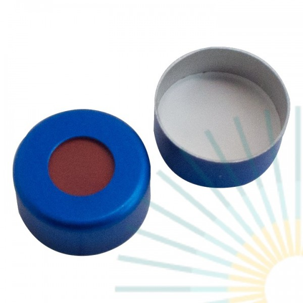 11mm Crimp Cap (Alu), blue, hole; Red Rubber/PTFE beige, 1.0mm
