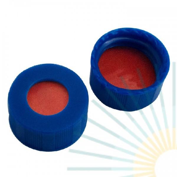 9mm PP Short Screw Cap, blue, hole; Nat. Rubber red-orange/TEF transp., 1.0mm