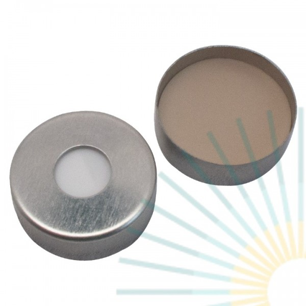 20mm Magnet. Crimp Cap, silver, 8mm hole; 20mm disk, Silicone white/PTFE beige, 3.0mm