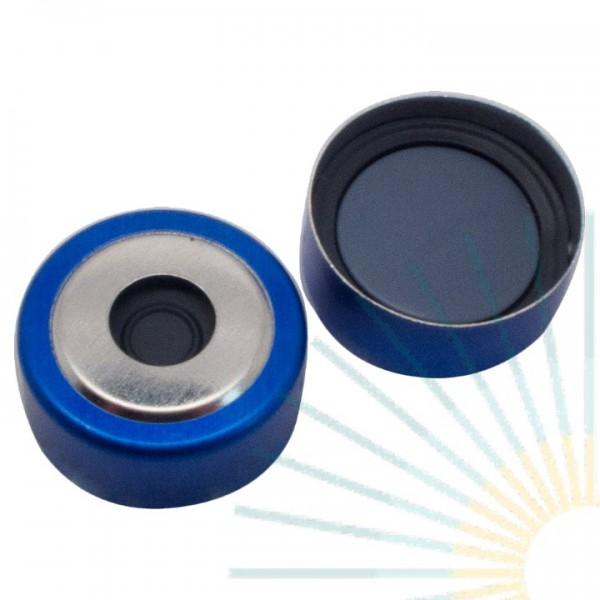 20mm Magnet. Bimetall-Kappe, blau/silber, 8mm Loch; Pharma-Fix-Scheibe (Butyl/PTFE), 3,0mm