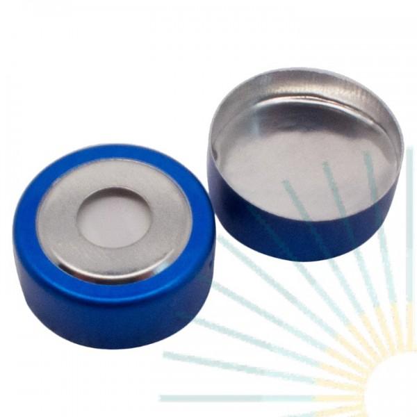 20mm Magnet. Bimetal-Cap, blue/silver, 8mm hole; Silicone white/Alu. foil silver, 3.0mm