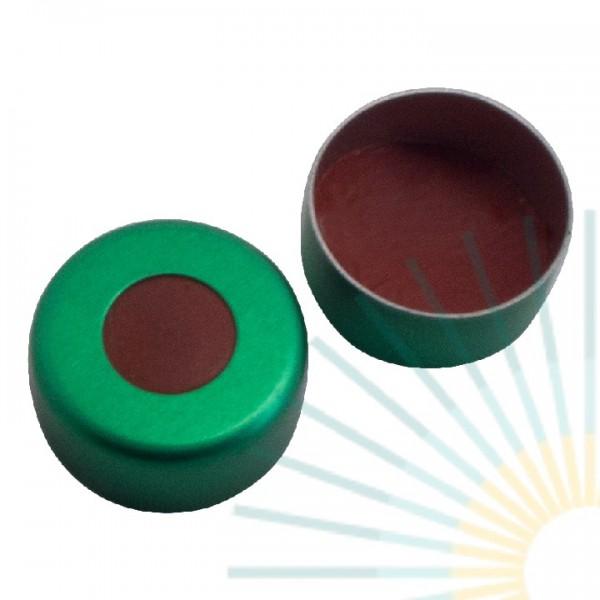 11mm Crimp Cap (Alu), green, hole; Nat. Rubber red-orange/butyl red/TEF transp, 1.0mm