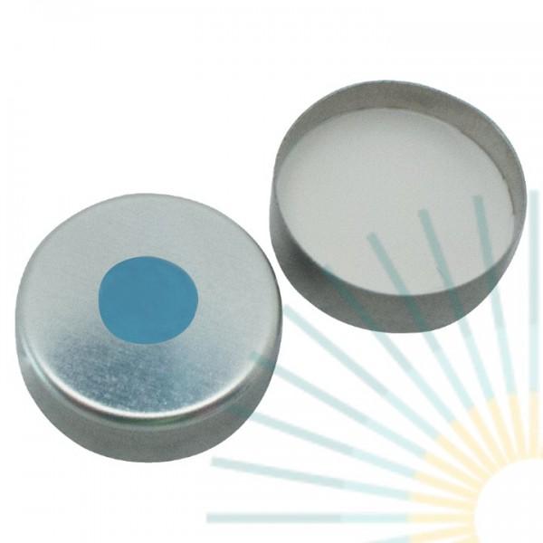 20mm Magnet. Bördelk., silber, 8mm Loch; Silicon blau transp/PTFE transp, 3,0mm