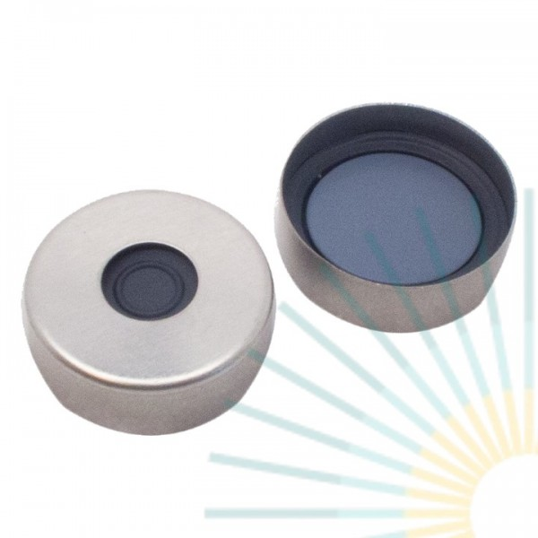 20mm Magnet. Bördelk., silber, 8mm Loch; Pharma-Fix-Septum, Butyl/PTFE, 3,0mm