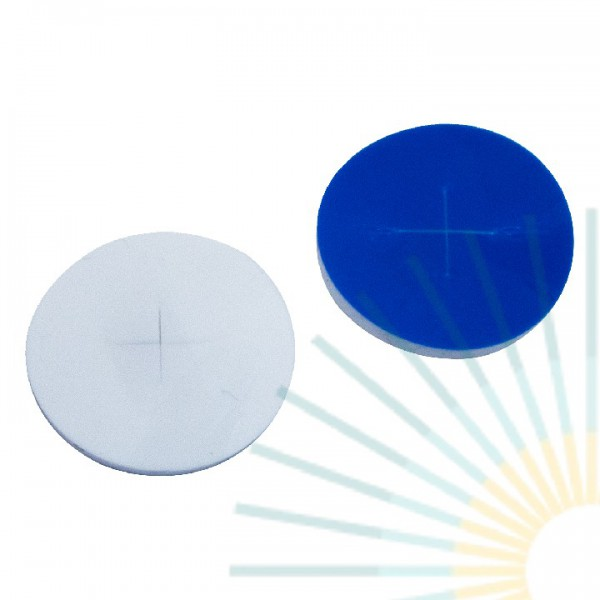 22mm Septa, Silicone white/PTFE blue, 1.5mm, cross slitted
