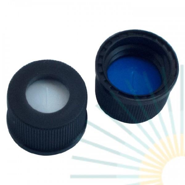 13mm PP Schraubkappe, schwarz, Loch; Silicon weiß/PTFE blau, 1,5mm, geschlitzt