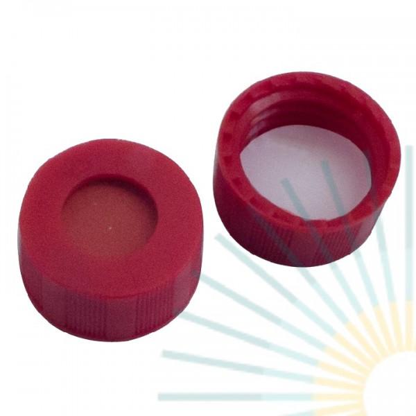 9mm PP Short Screw Cap, red, hole; RedRubber/PTFE beige, 1.0mm (Agilent quality)