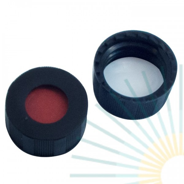 9mm PP Short Screw Cap, black, hole; RedRubber/PTFE beige, 1.0mm (Agilent quality)