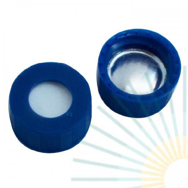 9mm PP Short Screw Cap, blue, hole; Silicone white/Alu. foil silver, 1.0mm