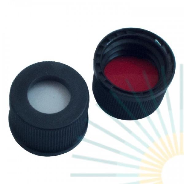 10mm PP Schraubkappe, schwarz, Loch, ND10; Silicon weiß/PTFE rot, 1,3mm
