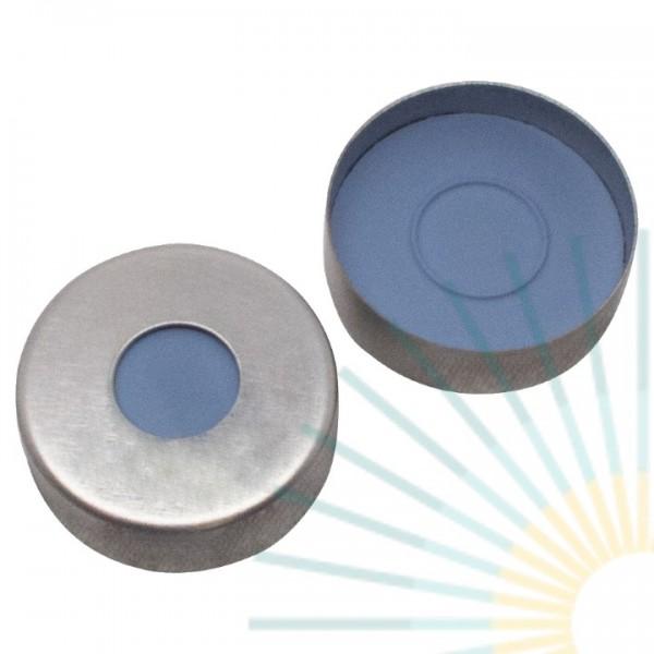 20mm Magnet. Bördelk., silber, 8mm Loch; Formscheibe Butyl, dunkelgrau, 3,0mm
