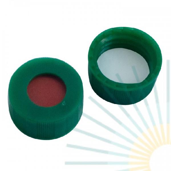 9mm PP Short Screw Cap, green, hole; RedRubber/PTFE beige, 1.0mm