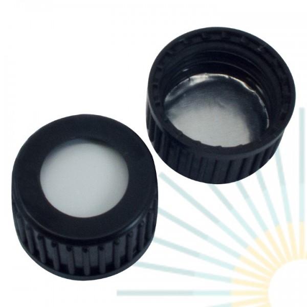 18mm PP Schraubkappe, schwarz, Loch; Silicon weiß/ Alufolie silber, 1,3mm