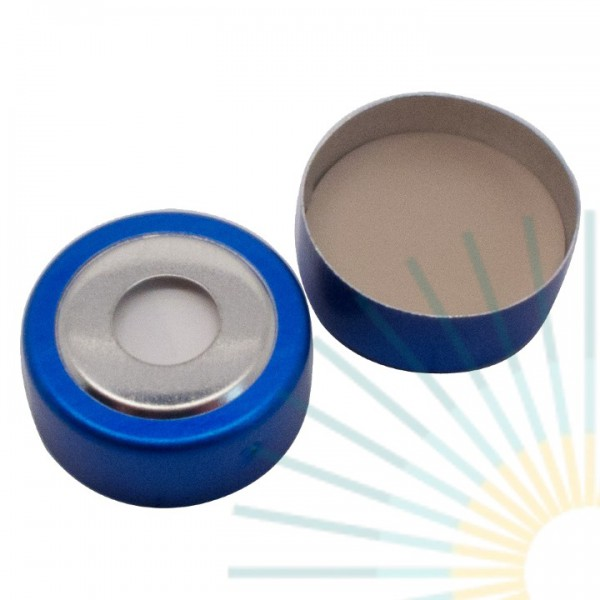 Magnet. Bimetal-Cap, blue/silver, 8mm hole; 20mm disk, Silicone white/PTFE beige, 3.0mm