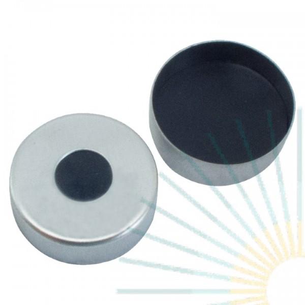 20mm Magnet. Bördelk., silber, 8mm Loch; Viton 1A schwarz, 1.0mm