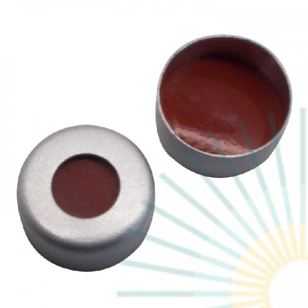 8mm Crimp Cap (Alu), colourless, hole; RedRubber/ TEF transp, 1.0mm