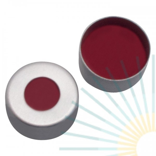 11mm Crimp Cap (Alu), colourless, hole; PTFE red/Silicone white/PTFE red, 1.0mm
